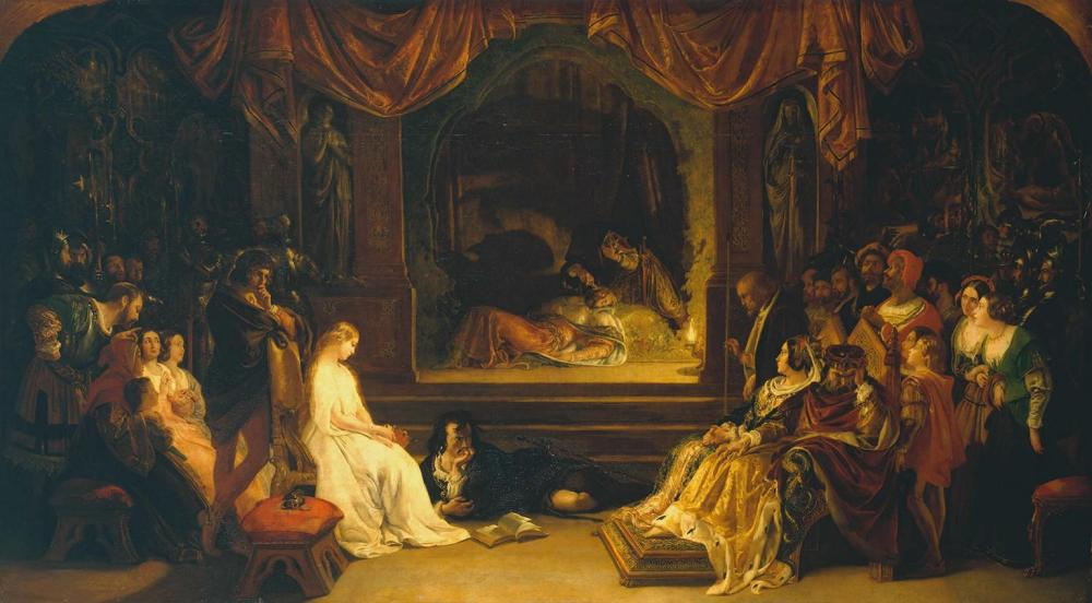 The Play Scene in 'Hamlet' exhibited 1842 by Daniel Maclise 1806-1870